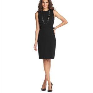Loft Seamed Textured Sheath Dress Black NEW